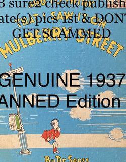 💥 Dr. Seuss BANNED BOOK🔥, 1937 Original BookClub Edition, MULBERRY STREET 🔥RARE for Sale in Largo,  FL