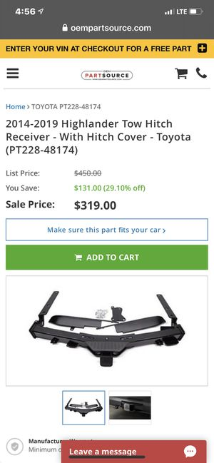 2014-2019 toyota highlander trailer hitch completep for Sale in Lincoln Acres, CA