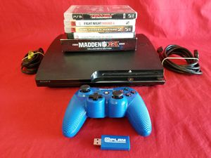 Sony PlayStation 3 PS3 Slim CECH-2001A 1 Controller 5 Games for Sale in Fresno, CA