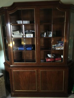 Large breakfront/ china cabinet real wood antique for Sale in Boca Raton, FL