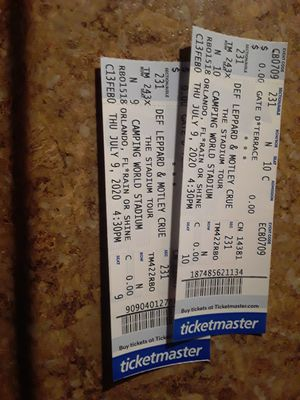 Def Leppard Motley Crue poison Joan Jett concert tickets June 27th 2021 for Sale in Tampa, FL