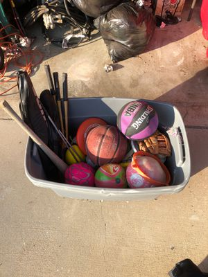 Box of Balls and Tennis Rackets for Sale in Fontana, CA