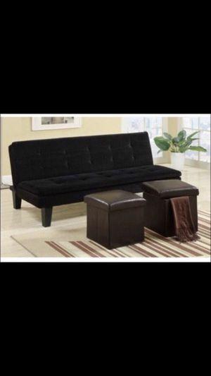 Black futon with two small ottomans. for Sale in Chula Vista, CA