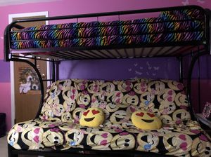 Black metal framed Bunk bed with futon for Sale in Phelps, NY