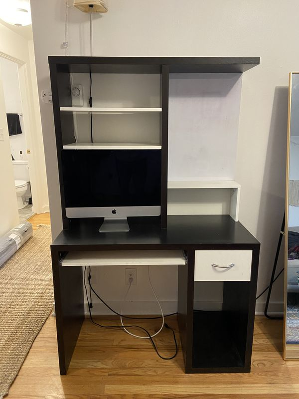 IKEA Cherry Wood & White desk with built in dry erase board