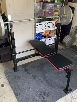 Full Olympic Bench Press Weight Set for Sale in Tigard,  OR