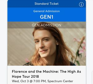 Florence and the Machine CONCERT TICKETS CHARLOTTE 10/3 for Sale in Charlotte, NC