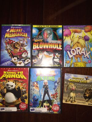 Kids movies merry Madagascar operation blowhole the Lorax dr Seuss Kung fu panda monsters vs aliens adventures of donkey Ollie kids toys toys car tru for Sale in Tampa, FL