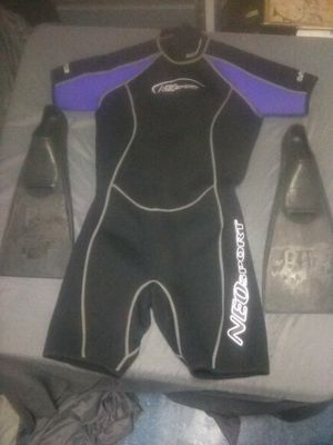 Wet suit with fins for Sale in Columbus, OH
