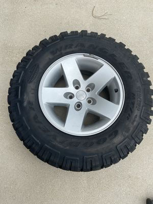 NEW- Goodyear Wrangler Dura Wall MT/R Lt245/75R16 on 5 Lug Jeep Rims. Never used. Still has nipples. OBO for Sale in Summerville, SC