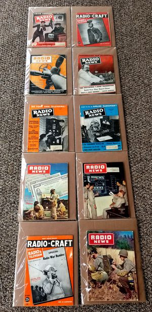 10 WW2 WWII era vintage radio news magazines for Sale in Glendora, CA