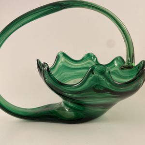 LARGE MURANO HANDBLOWN SWIRL GREEN CORNICOPIA MCM ART GLASS BASKET - With Bowl for Sale in Norman, OK