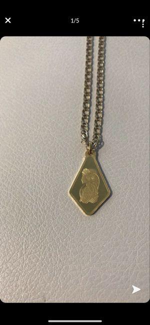 Solid 5gram 24k gold bar 14k chain for Sale in Aurora, CO