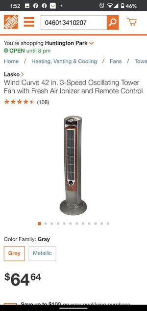 Lasko Wind Curve 42 in. 3-Speed Oscillating Tower Fan with Fresh Air Ionizer and Remote Control for Sale in Huntington Park, CA