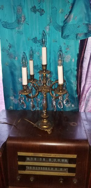 Antique Brass & Crystal Chandelier Lamp $60 for Sale in Aberdeen, WA