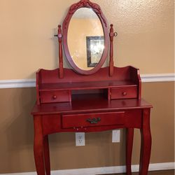 Red Wood Vanity (Makeup Desk with Mirror and Drawers) for Sale in Los Alamitos,  CA