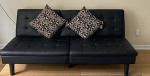 Black leather futon with two pillows for Sale in Sunnyvale, CA