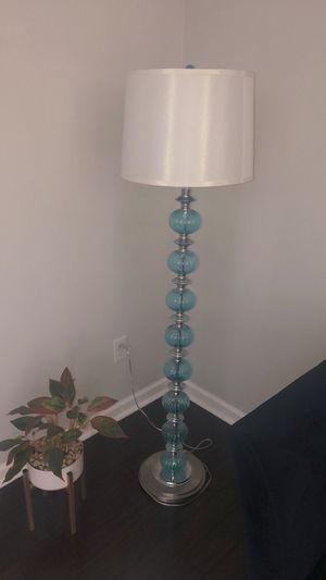 Aqua glass and silver Floor lamp for Sale in Kennesaw, GA