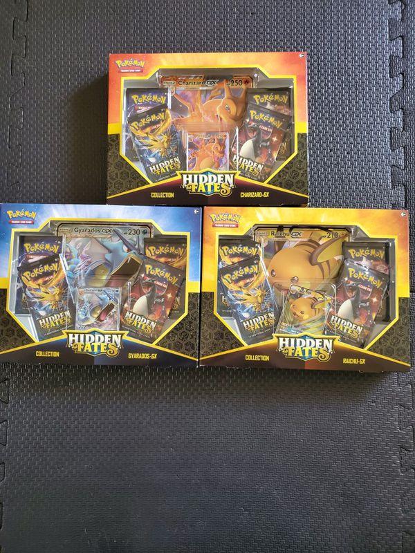 Pokemon Hidden Fates Charizard, Gyarados, Raichu GX Trading Card Game Box Set Bundle