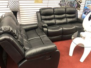 Sofa reclining leather black and brown for Sale in The Bronx, NY