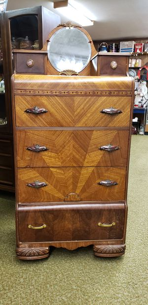 Beautiful Antique Waterfall Tallboy Dresser with Mirror for Sale in Tacoma, WA