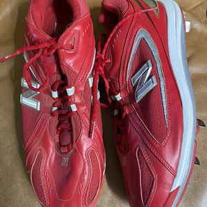 Men's Red Leather Metal Cleats Shoes Size 12 1/2 for Sale in Fresno, CA