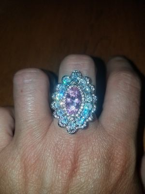 Sterling silver pink and white sapphire rings size eight for Sale in Dundalk, MD