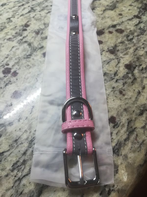 Pink and Grey dog collar size M