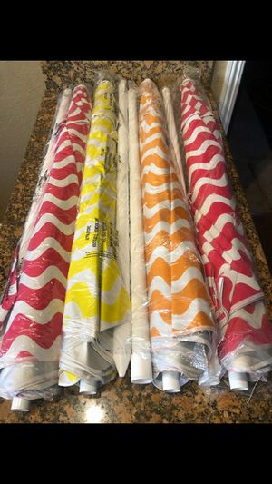 BRAND NEW BEACH UMBRELLAS 6 AND A HALF FEET TALL USE FOR BASEBALL GAMES SOCCER GAMES VOLLEYBALL GAMES AND MORE PRICED IS FIRM $30 EACH for Sale in Riverside, CA