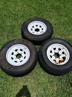 Three 225/75/15 D trailer tires with 6 lug wheels for Sale in Miami, FL