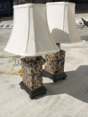 Ornate Small Bedside Lamps Blue & Yellow for Sale in Los Angeles, CA