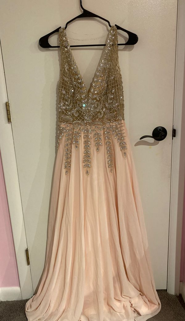 Light pink low neck sparkly prom dress