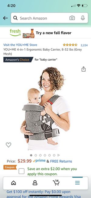 YOU+ME 4-in-1 Ergonomic Baby Carrier, 8-32 lbs (Grey Mesh) for Sale in Washington, DC