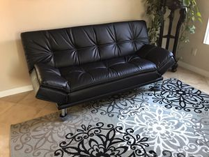 Beautiful brand new black leather sofa futon bed for Sale in Oceanside, CA