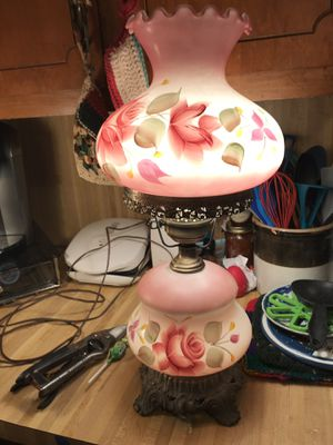 Antique lamps,all got night-lights....Lamp with the roses is 125.00 the green banker lamp is 60.00 and the old lamp that's missing a shade is 75.00 for Sale in Durham, NC