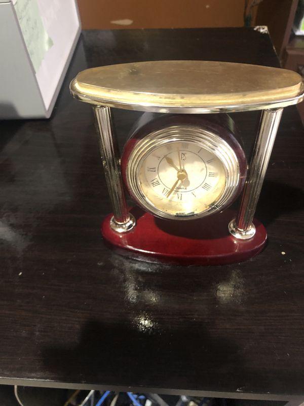 Mahogany & Gold Desk Clock