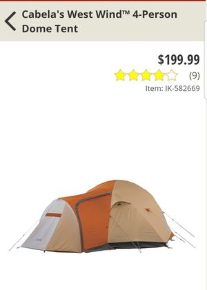 Cabellas west wind 4 person tent for Sale in Torrington, CT