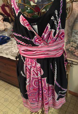 Misses summer short halter dress black& pink slip on belted Euc non smoke sz Xl misses won't fit larger runs like gize13/14 for Sale in Northfield, OH