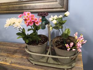 Vintage faucet double flower pot with faux flowers for Sale in The Bronx, NY
