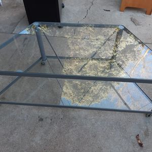 Glass TV Stand With Wheels for Sale in Littleton, CO