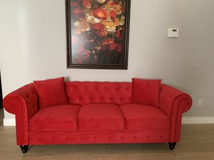 Stunning tufted red velvet sofa couch for Sale in Peoria, AZ