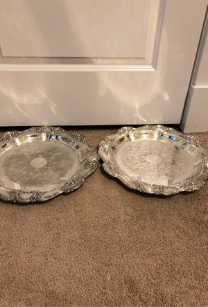 2 Round 15 inch Silverplated platters for Sale in Kensington, MD