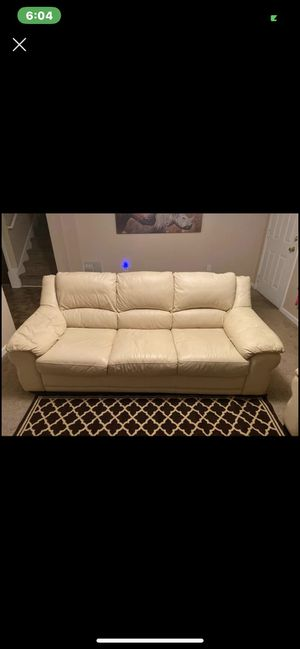 White Leather Couch Set for Sale in Ellenwood, GA