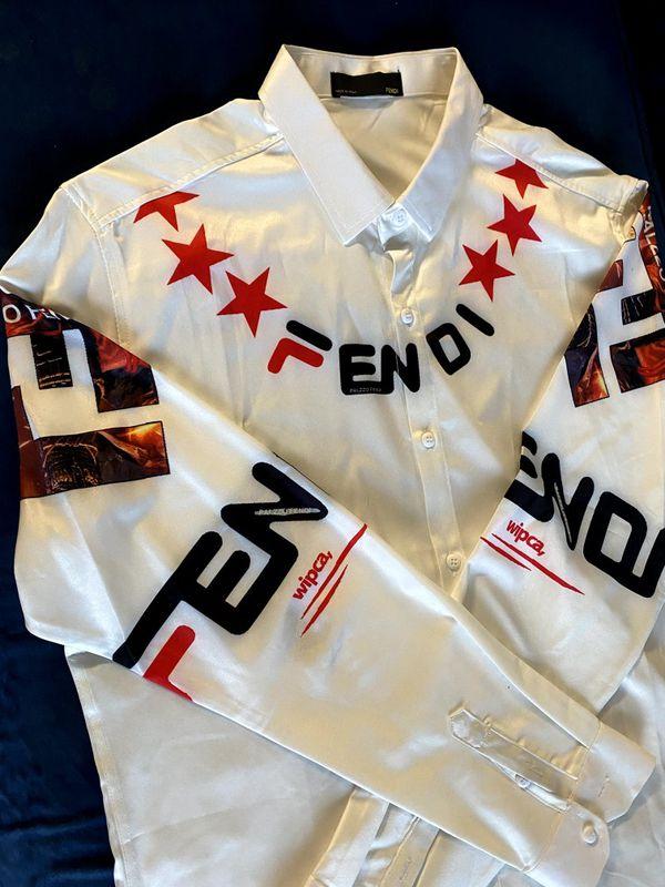 Fendi Palzzo Rare Satin Dress Shirt L