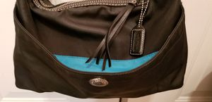 Coach black hobo shoulder bag. Black w Turquoise inside. Used, good condition $15 for Sale in Henderson, NV