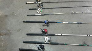 7 Fishing poles shimano 250 bait runner 1 E F 3000 2 zebco 606 1 Berkly fusion 1 shakespere and 1 matzuo for Sale in Port Arthur, TX