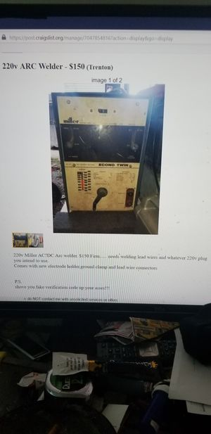 220 volt AC DC arc welder by Miller for Sale in Ewing Township, NJ
