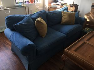 Blue Couch and Pillows for Sale in Greensboro, NC