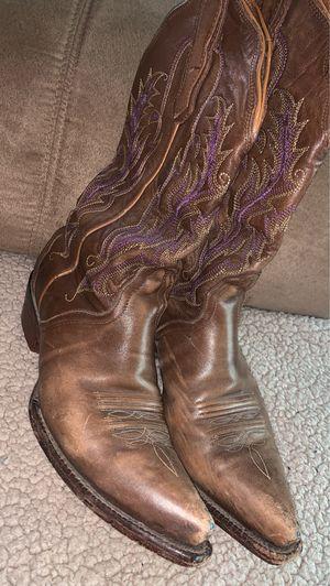 Nocone Boots size 6 1/2 dark brown w/purple for Sale in San Antonio, TX