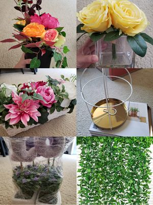 artificial flowers and leaves, decorations for Sale in Chino Hills, CA